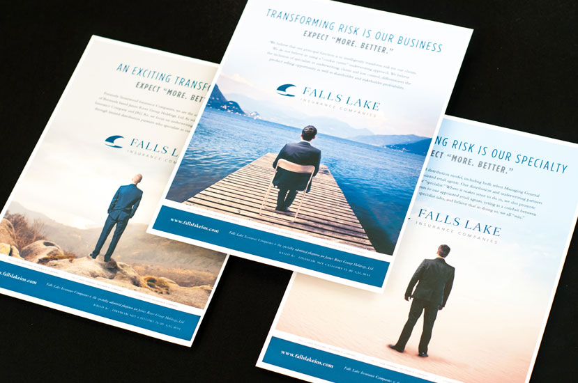 Great Insurance Ads - Falls Lake Insurance Business Man on Dock Ad