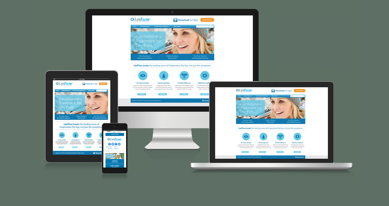 Lipiflow website homepage displayed on multiple devices