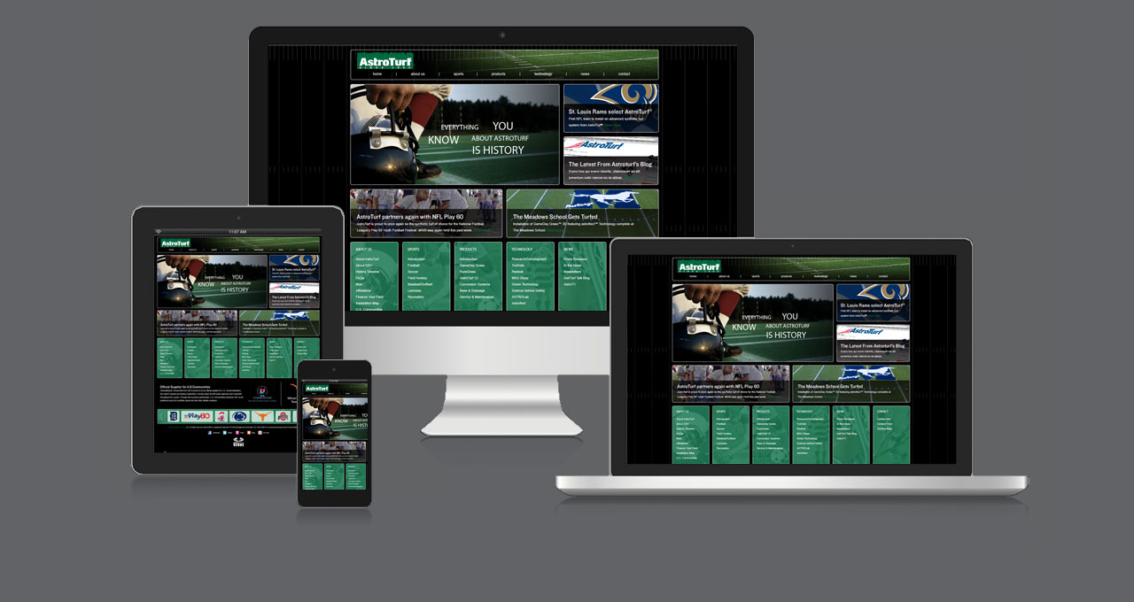 AstroTurf website displayed on multiple devices