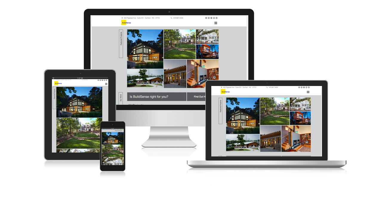 BuildSense Architecture Website grid layout on home page