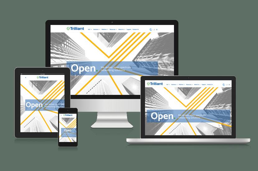 Trilliant Networks website design displayed on multiple devices